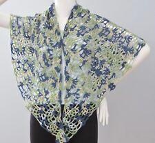 New Handmade Crochet Blue Green Soft Acrylic Pineapple Shawl Wrap Scarf