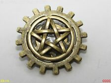 steampunk brooch badge pin cog gearwheel pentagram pentacle wiccan pagan
