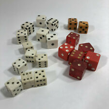 Miscellaneous Vintage Die Dice Lot of 21 Various Sizes and Colors Red White Gold