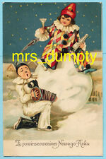 New Year'S ~ Snowman & Children as Pierrot Clowns Champagne ~ Htf Postcard #218