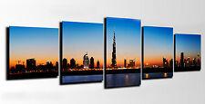 Quadri fotografico lima legno, Notte in città Dubai 145 x 62 cm