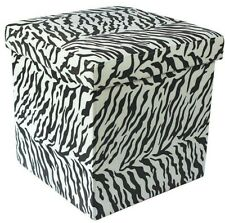 Ottoman Zebra Print Folding Pouffe Storage Box - Can Withstand 150kg Of Weight