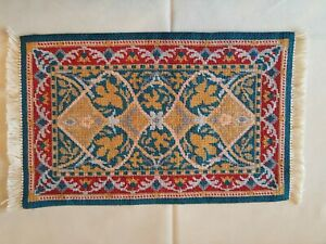 Dolls house hand stitched large needlepoint rug carpet with fringe and lined