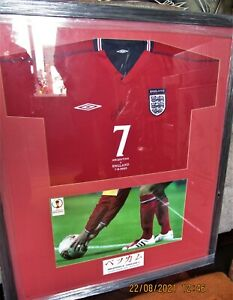 David Beckham signed England football shirt with certificate of authenticity