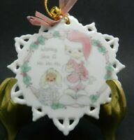 1993 Enesco Precious Moments Porcelain Snowflake Christmas Tree Ornament