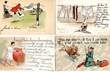 Lot of 4 Vintage Early 1900's Postcards with Comical Scenes