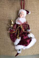 Angel Fairy Christmas Ornaments Beaded Velvet