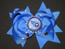 "NEW ""TENNESSEE TITANS"" Pro Football Girls Ribbon Hair Bow Rhinestone Clip NFL"