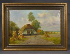 "Vintage Oil Painting, ""Haystacks & Chickens"",Signed Overmans,Dutch orBelgian"