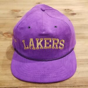 Vintage Lakers Hat Tan Tar A Leather Strap Back Rope Purple Adjustable One Size