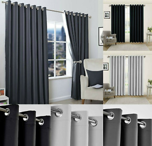 Blackout Eyelet Curtains Black Out Thermal Ring Top Ready Made Curtain Pair UK