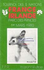 More details for france v ireland 1 march 1980 rugby programme - five (now six ) nations paris