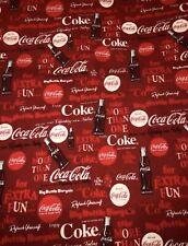 """100% cotton Coke Coca Cola Fabric 9"""" x 54"""" 1/4 yard NEW"""