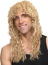 80'S Rocker Homme Perruque Blonde Glam Heavy Metal Costume Fancy Dress Party dur
