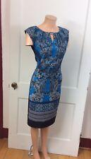 LONDON TIMES Blue Sheath Dress Wear To Work Paisley Print Women's 10