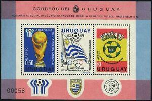 Uruguay C438 ac sheet,MNH.Mi Bl.44. World Soccer Cup Argentina-1978,Spain-1982.