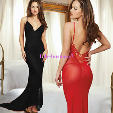 Long Dress Night Gown Sexy Lingerie Hot Robe Lace Nightwear Best Valentine Gift