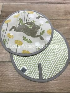 Pair Of Aga / Hob Covers Pads. Running Hare and Dandelions