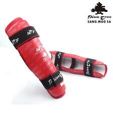 PINE TREE Taekwondo Bein Schoner Kampfsport Schienbeinschutz WTF Deluxe rot NEU!
