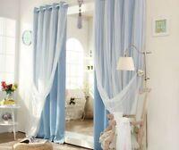 Mediterranean Blockout Double Layer Bridal Lace Sheer Eyelet Curtains Aqua Blue