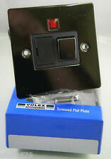 Volex 13A Fused Spur Switch Flat Plate Black Nickel with Neon FCU Free Delivery