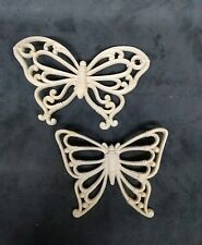 Butterfly Wall Plaques Set of 2 White/Ivory Wicker Look Homco 7537 Vintage 1978