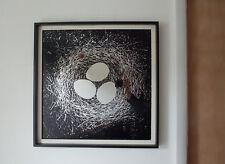 "Mid Century Modern Tom Tru Birds Nest Printed Square Wall Mirror Brutalist 22"""