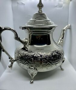 Moroccan X Large TeaPot Handmade Serving 12 Tea Cups Brass Silver Plated