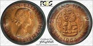 1964 NEW ZEALAND HALF PENNY BU PCGS MS64RB CIRCLE TONED ONLY 8 GRADED HIGHER