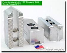 "8"" Aluminum Soft Jaws 1.5mm x 60° Serrated for B-208 Type Lathe Chucks (1.5"" HT)"