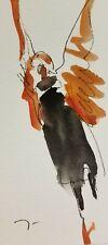 JOSE TRUJILLO ORIGINAL Watercolor Painting SIGNED Small 3x6 FIGURE ANGEL ANGELIC