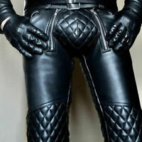 Men's Real Leather Pant Punk Kink Jeans Trousers BLUF Pants Bikers Breeches Bike