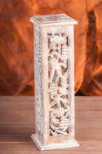 Räucherturm Shrinagar, wei�Ÿ gewachst, Mangoholz, H: 31 cm, B: 7,5 cm, KH-393-W