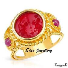 US$2270 TAGLIAMONTE Made in ITALY Venetian Glass & Ruby Ring 14K Gold FREE WATCH