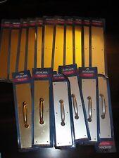 "Lot of 17 Schlage Push Pull Plates 3.5"" x 15"" Satin Aluminum Bright Brass New!"