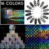 HOLOGRAPHIC TRANSFER FOIL 4x20cm Stickers Nail Polish Rainbow Silver Unicorn UK