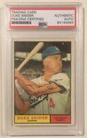 1961 Topps Signed Autographed DUKE SNIDER Baseball Card PSA/DNA HOF