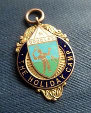 9ct Gold Enamel Tennis Fob Medal / Pendant 1934 Douglas Holiday Camp Isle Of Man
