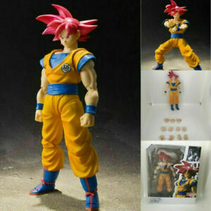 SHF Dragon Ball Z Super Saiyan God Red Hair Son Goku Action Figure Toys Gift box
