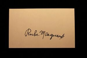 Rube Marquard New York Giants Signed Index Card HOF D 1980