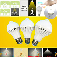 E27 LED Sensor Bulb Motion Activated Light 5W 7W 9W Stairs Night Safety Lamp RK