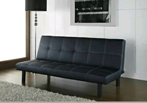 Foldable Faux Leather Sofa Bed  Click-Clack Couch Futon Wooden Single Sofabed