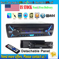 1 Din RDS Car Radio Stereo Bluetooth MP3 Player AM FM Detachable Panel AUX USB