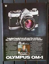 Vintage 1980 Olympus OM-1 Camera Full Page Original AD