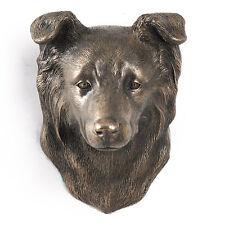 Border Collie, Statuette hängen an einer Wand, Bronze, Art Dog, CH