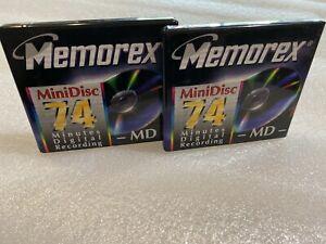 Memorex 74 Minutes Digital Recording MD MiniDisc Lot of 2