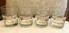 VNTG SET 4 AMERICAN CLASSIC CARS OLD FASHION GLASSES Etched Design with Gold