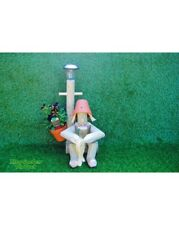Fisherman with solar-power lamp.  Easy fill flowerpot men handmade