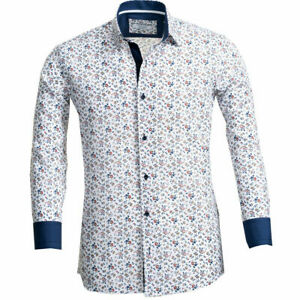 Russell & Giles Men`s Floral Patterned Shirt Size Large Tailored Fit
