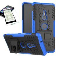 Para Sony Xperia XZ3 Carcasa Híbrida Conjunto de 2 Piezas Azul Funda + 0,3mm H9